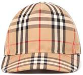 Burberry Cotton Baseball Hat With Check Print