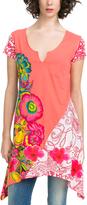 Desigual Salmon & Pink Floral Sidetail Tunic - Women