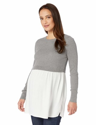 Motherhood Maternity Women's Maternity Long Sleeve Crew Neck Cropped Rib Sweater Twofer