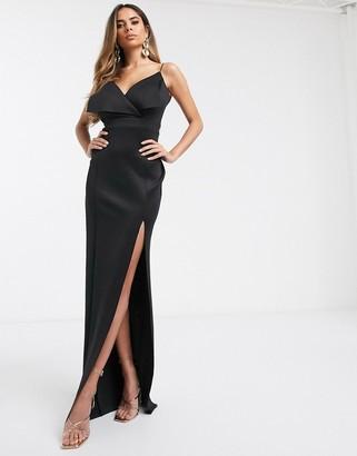Asos Design DESIGN Fuller Bust fold front scuba maxi dress-Black