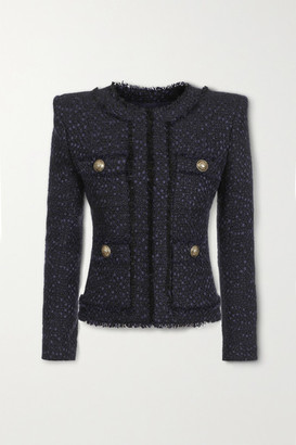 Balmain Button-embellished Tweed Jacket - Navy