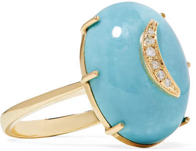 Andrea Fohrman Crescent Moon 14-karat Gold, Turquoise And Diamond Ring