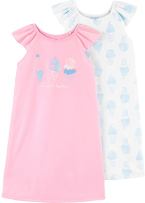 Carter's Girls 4-14 2-Pack All Over Pattern and Solid Logo Nightgowns