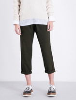 Brunello Cucinelli Straight-leg cropped wool and cotton-blend trousers