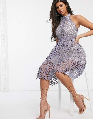 Love Triangle high neck midi dress with lace overlay in gray