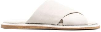 Brunello Cucinelli Criss-Crossed Strap Suede Slides