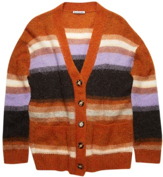Acne Studios Striped Wool Blend Cardigan, Pumpkin Orange