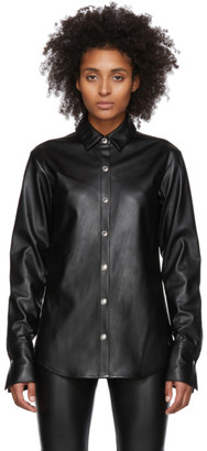 Alexander Wang Black Faux-Leather Snap Shirt