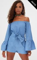 PrettyLittleThing Petite Blue Chambray Flare Sleeve Playsuit