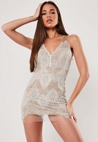 Missguided White Sleeveless V Neck Lace Mini Dress