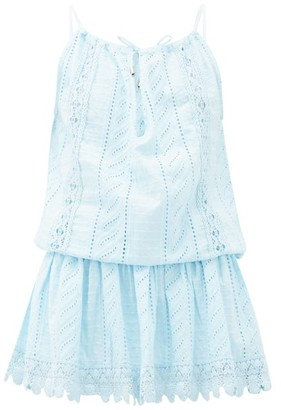 Melissa Odabash Chelsea Broderie-anglaise Cotton Mini Dress - Light Blue