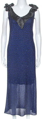 M Missoni M Missioni Blue Metallic Knit Tie Shoulder Detail Maxi Dress S