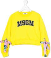 MSGM tie-detail logo printed sweatshirt