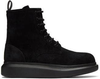 Alexander McQueen Black Suede Lace-Up Boots