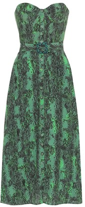 Rotate by Birger Christensen Peggy printed bustier midi dress