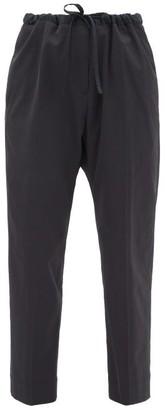 Jil Sander Drawstring-waist Tapered Trousers - Womens - Navy