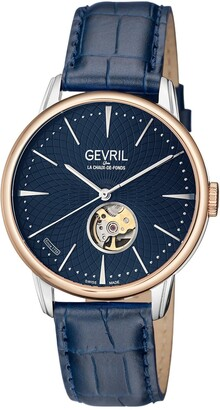 Gevril Men's Mulberry Silver Dial Calfskin Leather Strap Watch, 42mm