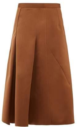 No.21 No. 21 - A Line Satin Skirt - Womens - Light Brown