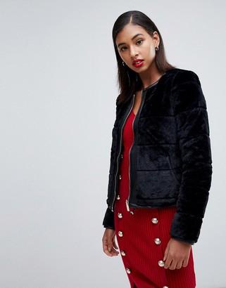 Morgan reversible faux fur paneled cropped jacket in black