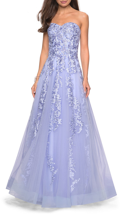 La Femme Strapless Sweetheart Tulle Ball Gown with Floral Lace Applique