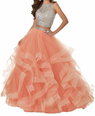 Haohuodress Women's Sexy Beaded Two Piece Prom Dresses Long Asymmetric Layered Tulle Formal Prom Ball Gowns Coral