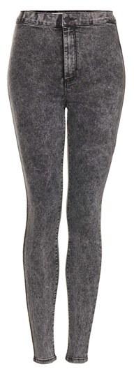 Topshop Moto 'Joni' Acid Wash High Rise Skinny Jeans (Black) (Regular, Short & Long)