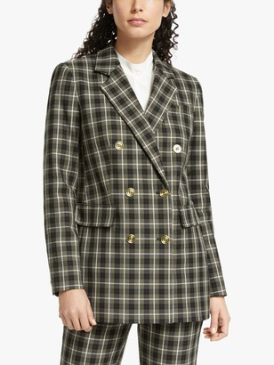 Michael Kors MICHAEL Double Breasted Check Blazer, Ivy
