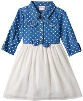 Nannette Toddler Girl Heart Print Chambray Top Dress