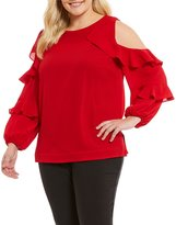 Gibson & Latimer Plus Long Sleeve Ruffle Blouse
