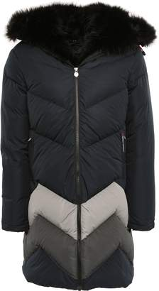 Perfect Moment Faux Fur-trimmed Striped Shell Hooded Down Jacket