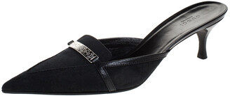Gucci Black GG Canvas Pointed Toe Mules Size 39.5