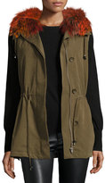 Trilogy Milt Hooded Fox-Trim Vest, Green