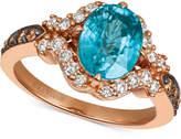 LeVian Le Vian Blueberry Zircon (9/10 ct. t.w.), Nude Diamonds (3/8 ct. t.w.), and Chocolate Diamonds (1/5 ct. t.w.) Ring in 14k Strawberry Gold