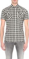 Diesel S-zule-short plaid cotton-blend shirt