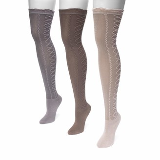 Muk Luks Women's 23'' Lace Texture Knee High Socks