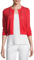 Neiman Marcus 3/4-Sleeve Mesh-Stitch Button-Front Shrug
