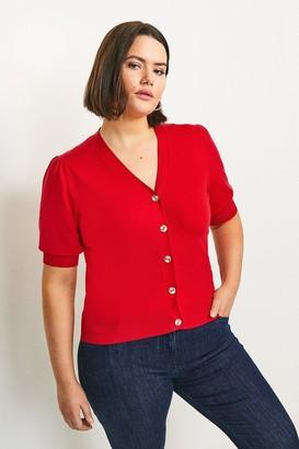 Karen Millen Curve Short Puff Sleeve Knitted Cardigan