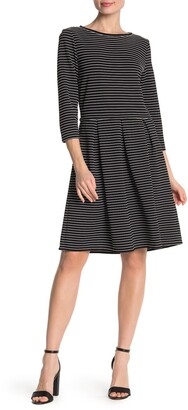 Max Studio Striped 3/4 Sleeve Flared Dress