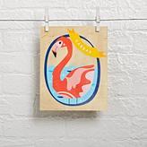 Wood Veneer Personalized Flamingo Wall Art