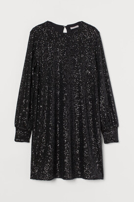 H&M Long-sleeved Sequined Dress - Black