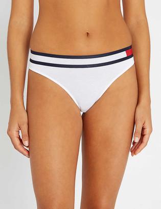 Tommy Hilfiger Stripe-trim mid-rise stretch-cotton bikini briefs