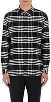 TOMORROWLAND Men's Plaid Cotton Flannel Shirt-BLACK