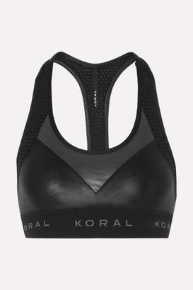 Koral Emblem Versatility Mesh-paneled Stretch Sports Bra - Black