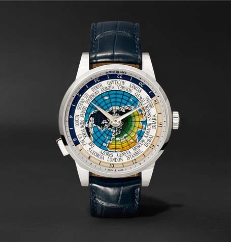 Montblanc Heritage Spirit Orbis Terrarum LATIN UNICEF 41mm Stainless Steel and Alligator Watch - Navy