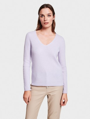 White + Warren Cashmere Slim Ribbed V Neck