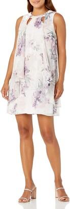 SL Fashions Women's Petite Sleeveless Cutout PearlNeck Dress
