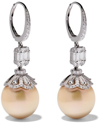 Yoko London 18kt white gold Starlight golden south sea pearl and diamond earrings