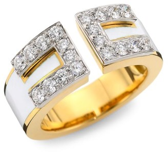 David Webb Motif 18K Yellow Gold, White Enamel & Diamond Gap Ring