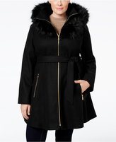 Laundry by Shelli Segal Plus Size Faux-Fur-Trim A-Line Coat