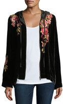 Johnny Was Malui Floral-Embroidered Velvet Hoodie